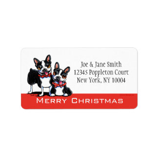 Bowtie Bostons Christmas Personalized Label