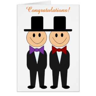 Bowtie Grooms Gay Wedding Card