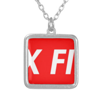 box logo silver plated necklace