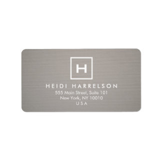 BOX LOGO with YOUR INITIAL/MONOGRAM on GRAY LINEN Address Label