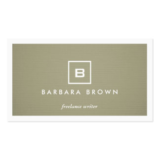 BOX LOGO with YOUR INITIAL MONOGRAM on KHAKI LINEN Business Card Templates
