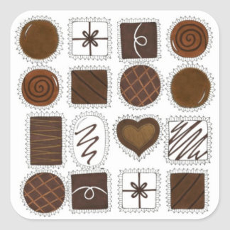 Box of Chocolates Valentine's Day Candy Love Square Sticker