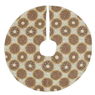 Box of Christmas Donuts Music Sprinkles Food Art Faux Linen Tree Skirt