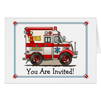 Box Truck Ambulance Party Invitation