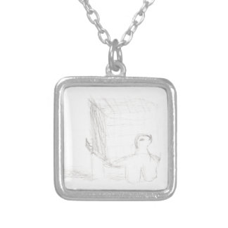 box turtle cube drawing Eliana Silver Plated Necklace
