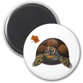 Box Turtle With Autumn Leaf 6 Cm Round Magnet