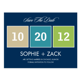 Boxed Calendar Save The Date Postcard (Navy Blue)