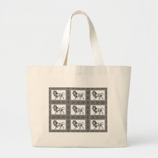 boxed lion in a frame large tote bag
