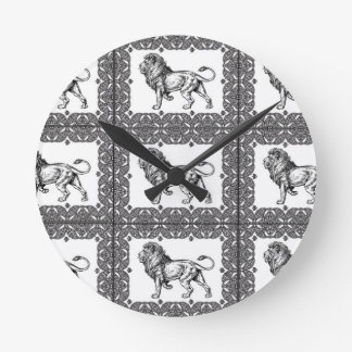 boxed lion in a frame round clock