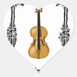 boxed violin heart sticker