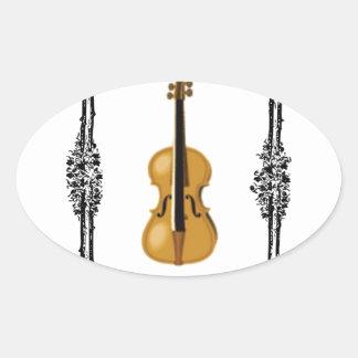 boxed violin oval sticker