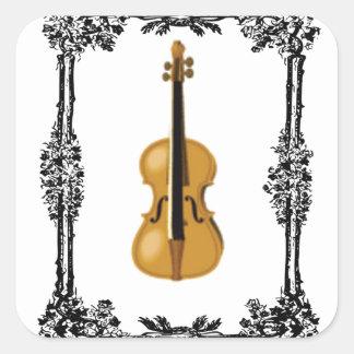 boxed violin square sticker