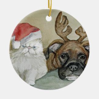 Boxer and Persian Cat Art Ornament