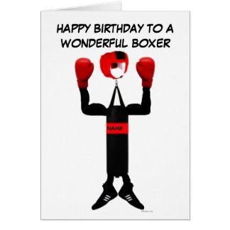 Boxer Birthday Cartoon Greeting Card