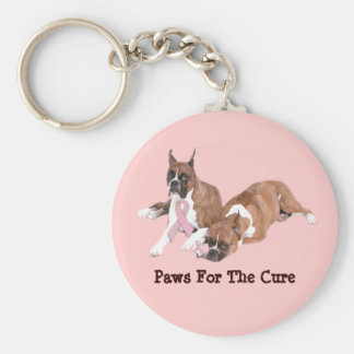 Boxer Breast Cancer Keychain