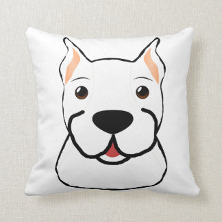 boxer cartoon head white cushion