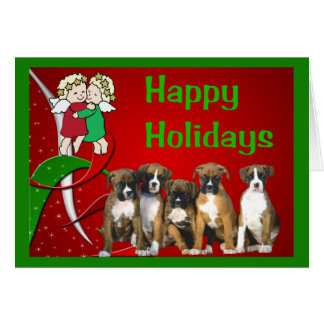 Boxer Christmas Little Angels Greeting Card
