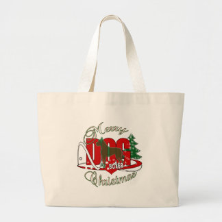 BOXER CHRISTMAS MERRY DOGS LARGE TOTE BAG