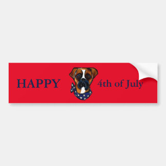 Boxer Dog 4th of July Bumper Sticker