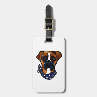 Boxer Dog 4th of July Luggage Tag