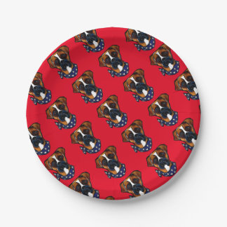 Boxer Dog 4th of July Paper Plate