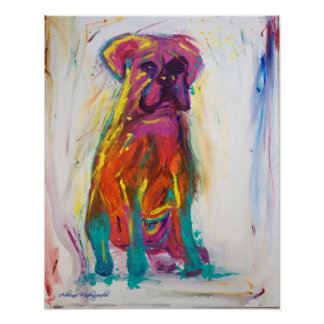 Boxer Dog Abstract Poster