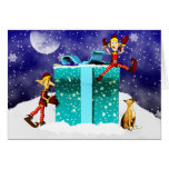 Boxer Dog and Elf's Christmas Card