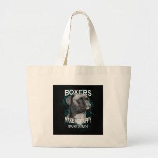 Boxer Dog Animal Lovers Art Text Large Tote Bag
