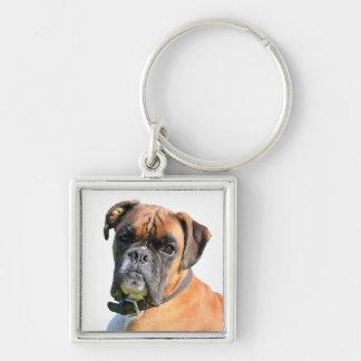 Boxer dog beautiful photo portrait key ring