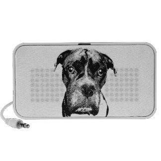 Boxer dog (black-and-white) travelling speakers