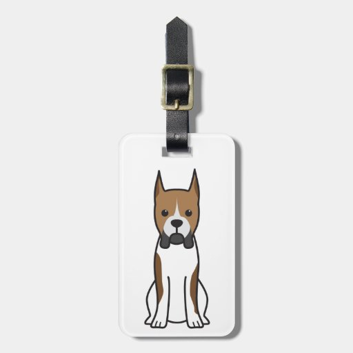 Boxer Dog Cartoon Tags For Luggage