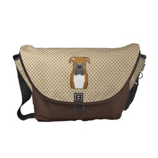 Boxer Dog Cartoon Messenger Bags