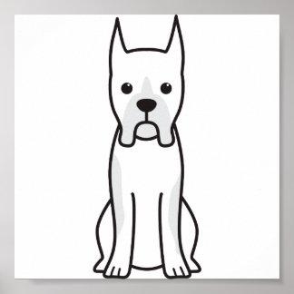 Boxer Dog Cartoon Poster
