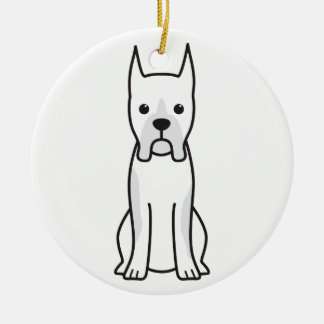 Boxer Dog Cartoon Round Ceramic Decoration
