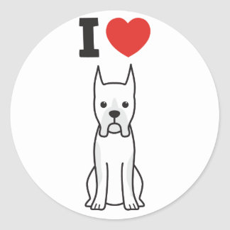 Boxer Dog Cartoon Round Sticker