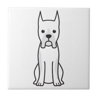 Boxer Dog Cartoon Small Square Tile