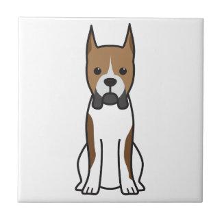 Boxer Dog Cartoon Small Square Tile