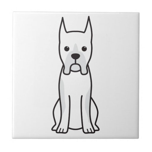 Boxer Dog Cartoon Ceramic Tile