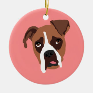 Boxer Dog Circle Ornament