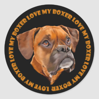 Boxer Dog Classic Round Sticker