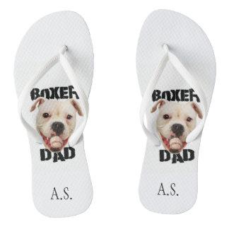 Boxer Dog Dad Monogrammed flip flops