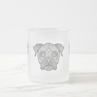 Boxer Dog Face - Detailed Dogs Frosted Glass Coffee Mug
