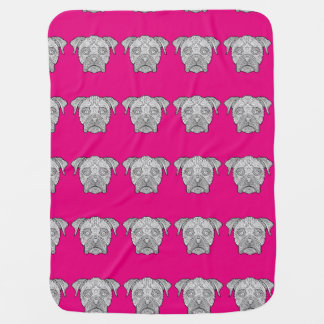 Boxer Dog Face - Detailed Dogs Swaddle Blankets