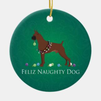 Boxer Dog Feliz Naughty Dog Christmas Design Ceramic Ornament