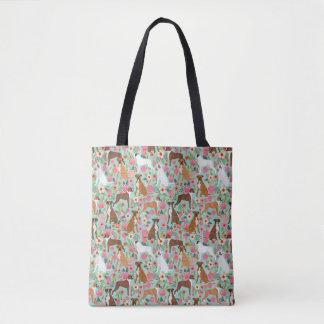 Boxer Dog Florals Tote Bag