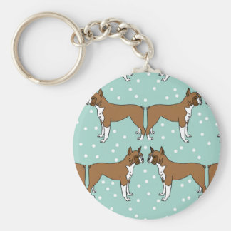 Boxer Dog in Mint - Illustration / Andrea Lauren Basic Round Button Key Ring