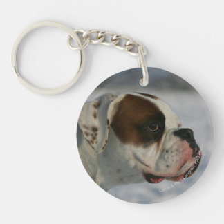 Boxer Dog in the Snow Key Ring