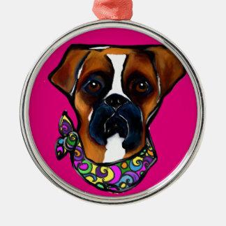 Boxer Dog Mardi Gras Metal Ornament