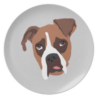 Boxer Dog Melamine Plate