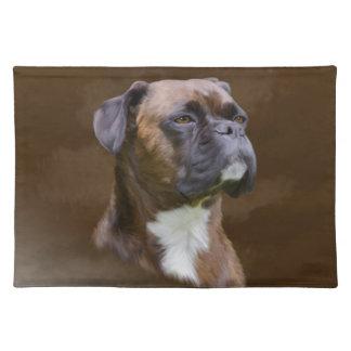Boxer Dog Oil Painting Art Portrait Place Mats